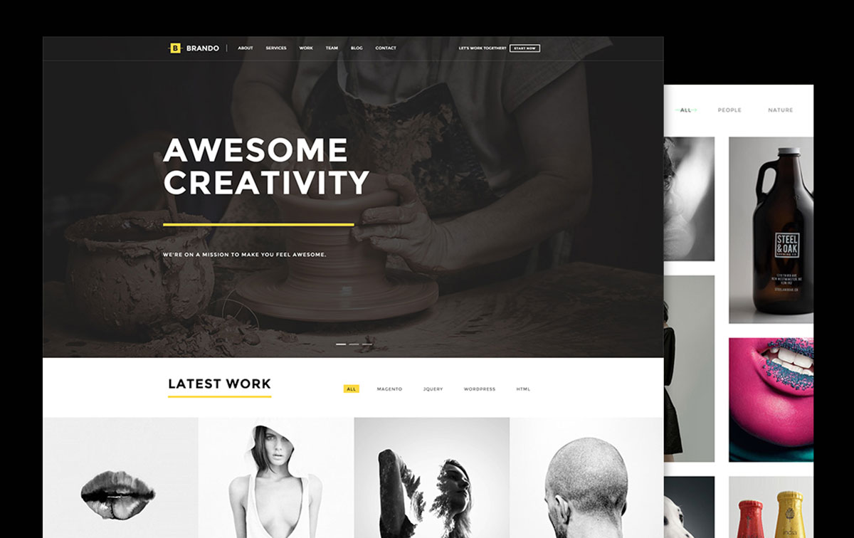 awesome wordpress portfolio themes to showcase your work  brando is a professional and responsive one page multipurpose website theme brando is the perfect platform for webmasters across the board looking to set