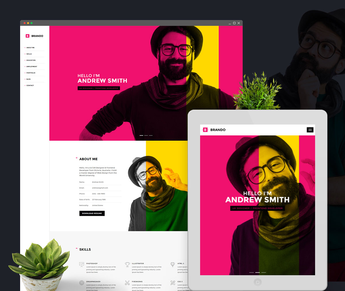 Brando Best Vcard WordPress Themes