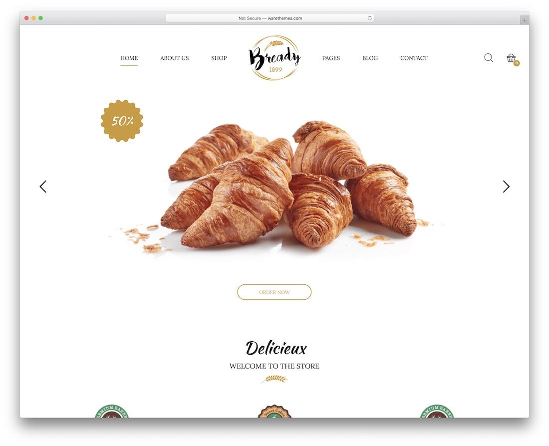 bready wordpress theme for bakeries