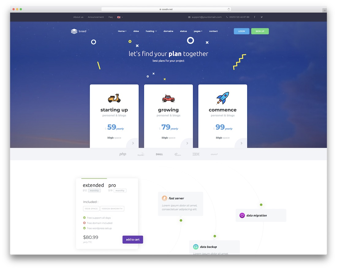 breed web hosting website template