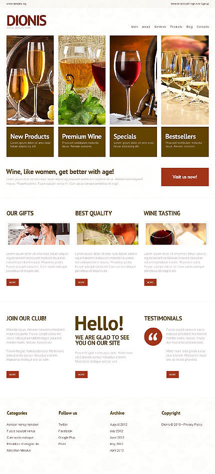 Light Wine WordPress Theme