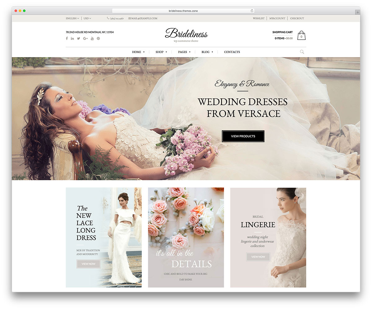 20 best wordpress wedding events marriage themes 2018 colorlib brideliness is a theme in complete devotion to one thing the wedding dress it is dedicated to make brides grooms and wedding planners happy junglespirit Image collections
