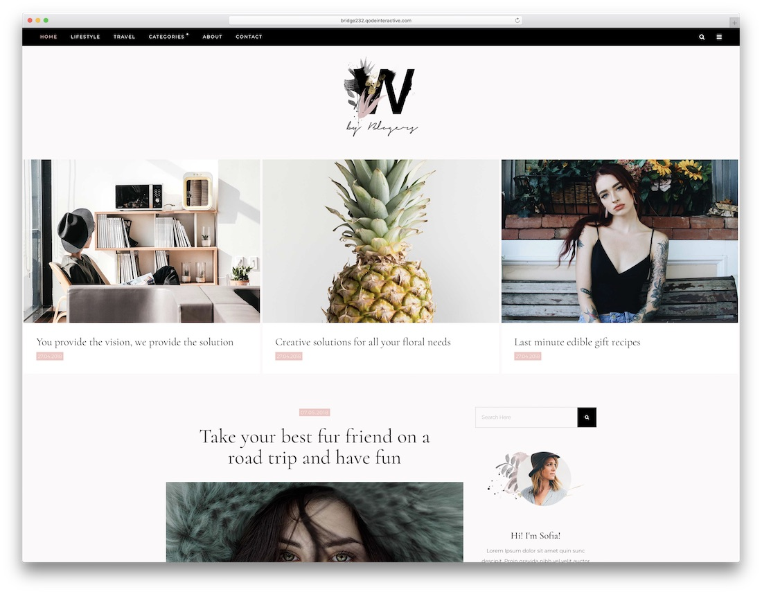 bridge best personal blog wordpress theme