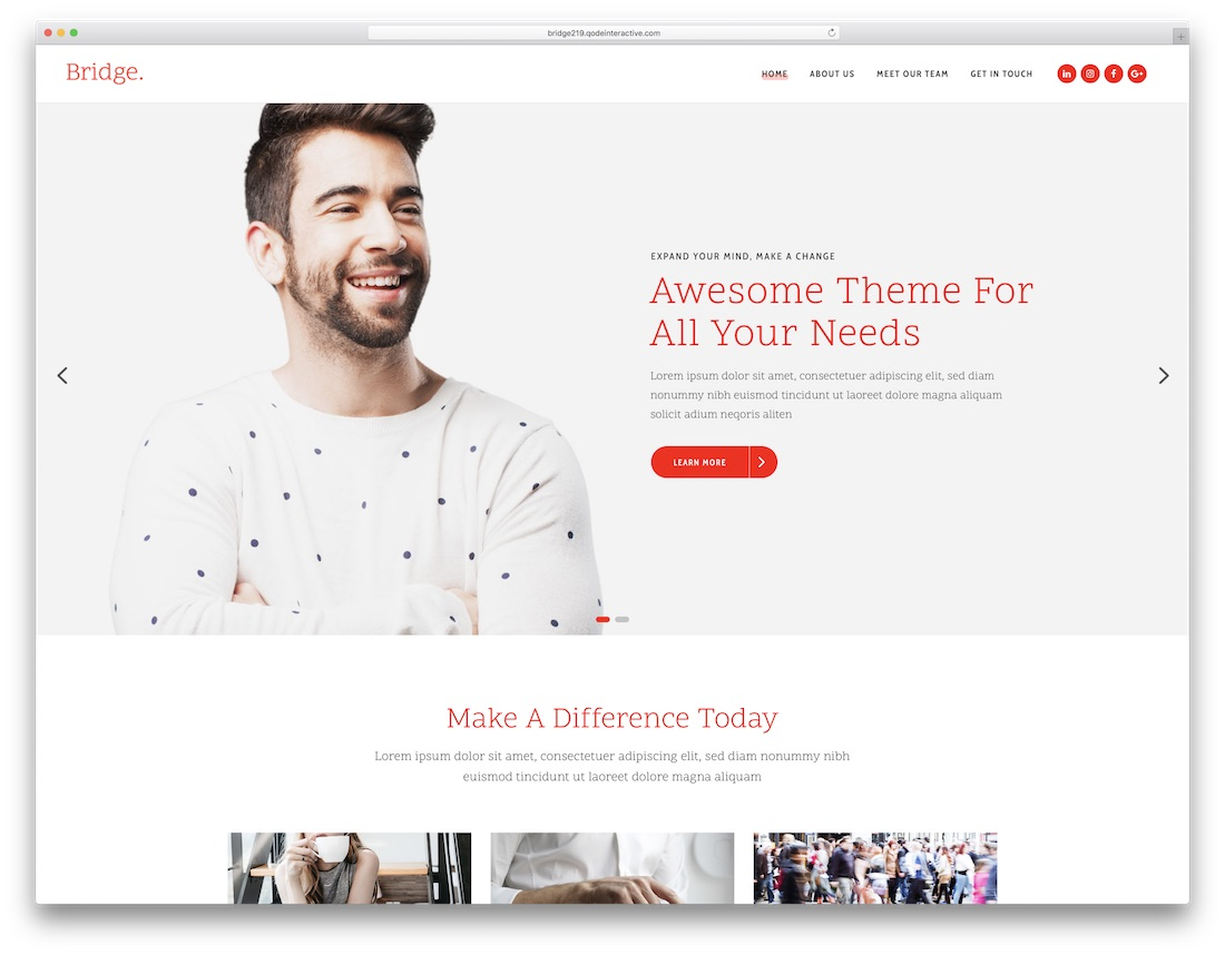 bridge best wordpress business theme