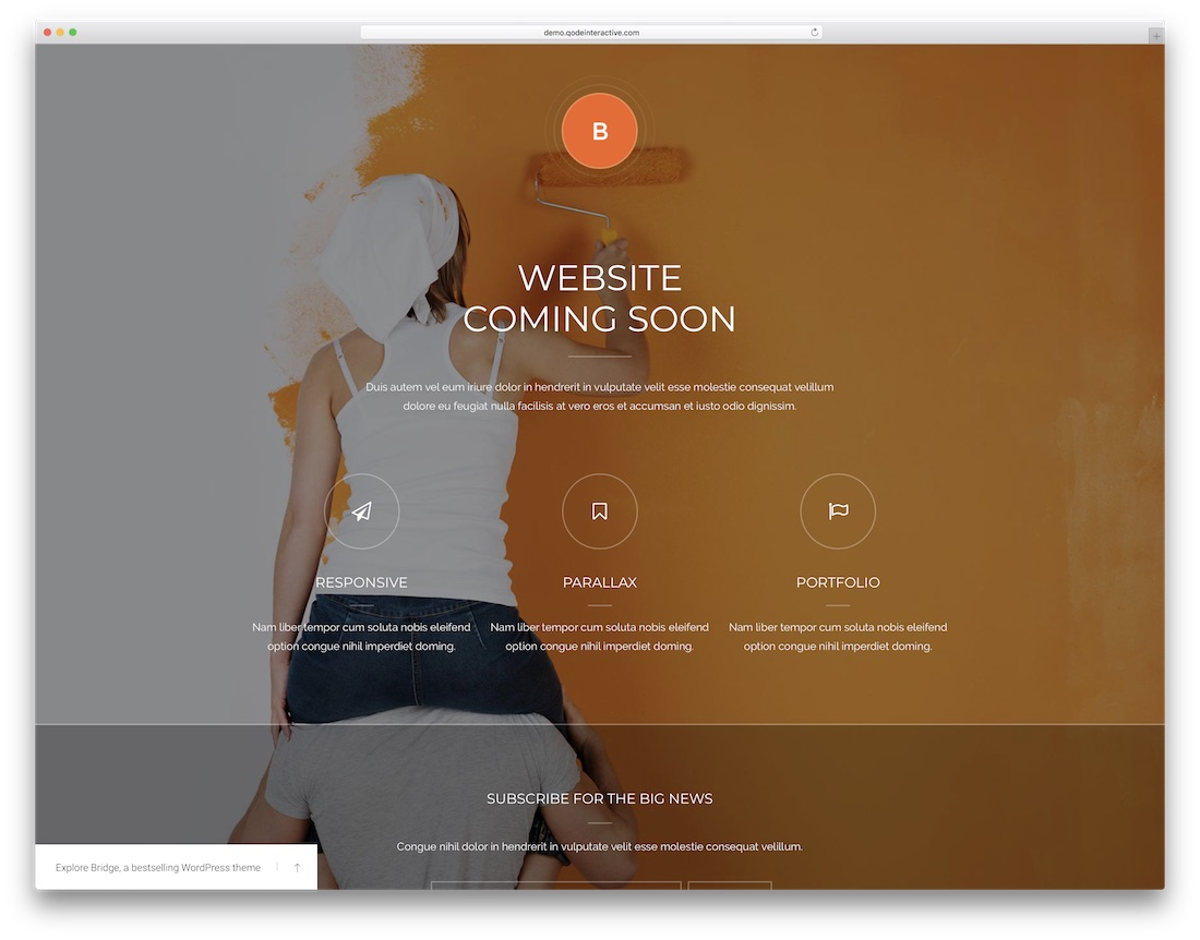 bridge coming soon wordpress theme