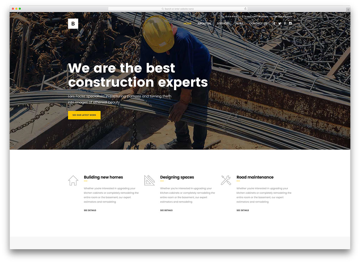 46 best construction company wordpress themes 2018 colorlib for What is the best poster website