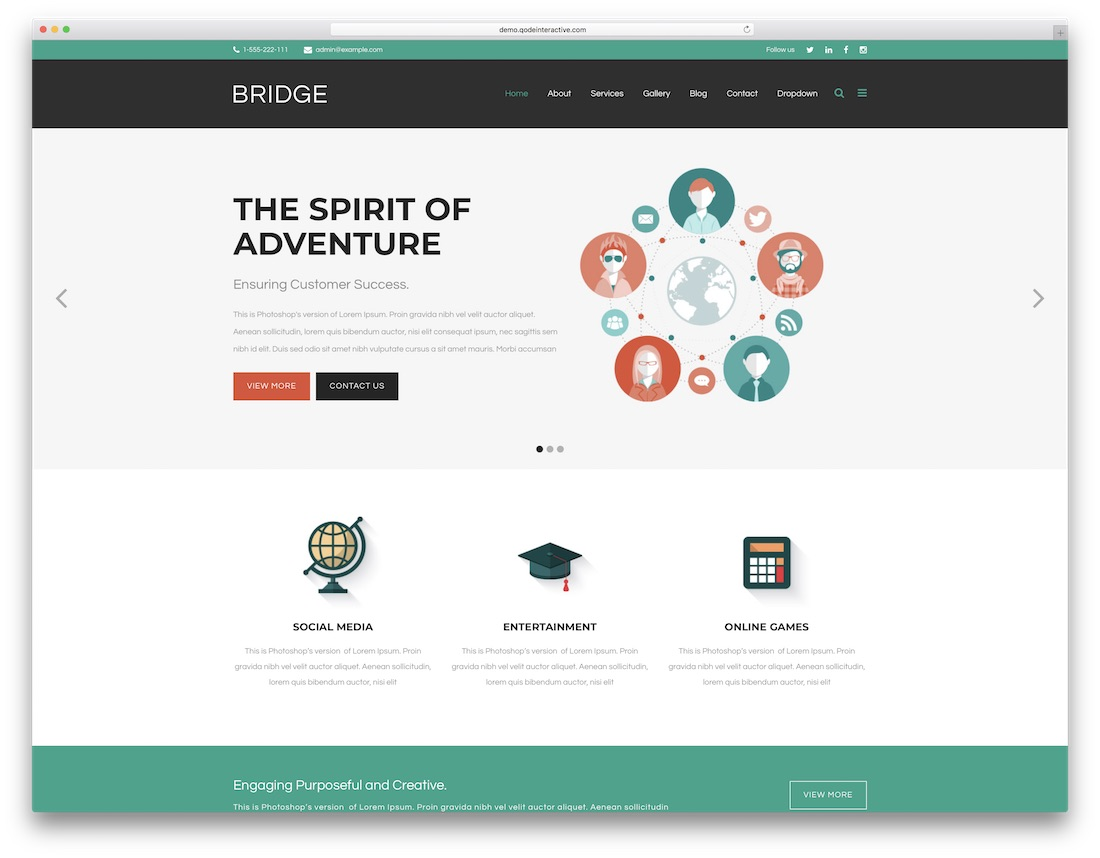 bridge flat design wordpress theme