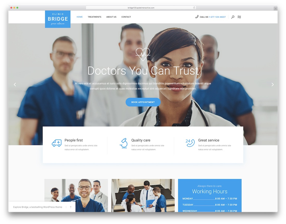bridge health medical wordpress theme