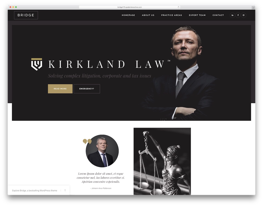 bridge lawyer wordpress theme