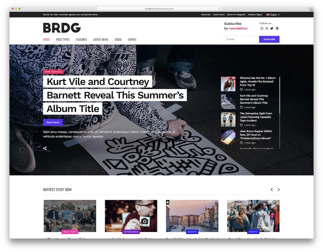 bridge music wordpress theme