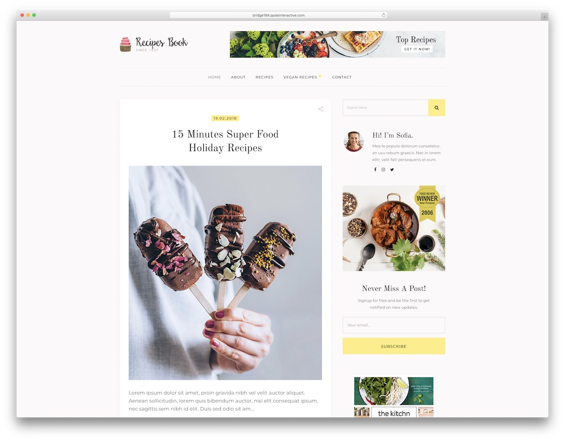 bridge wordpress food blog theme