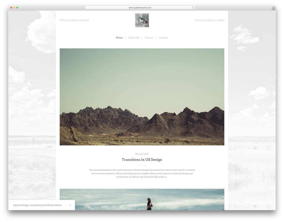 bridge wordpress photography blog theme