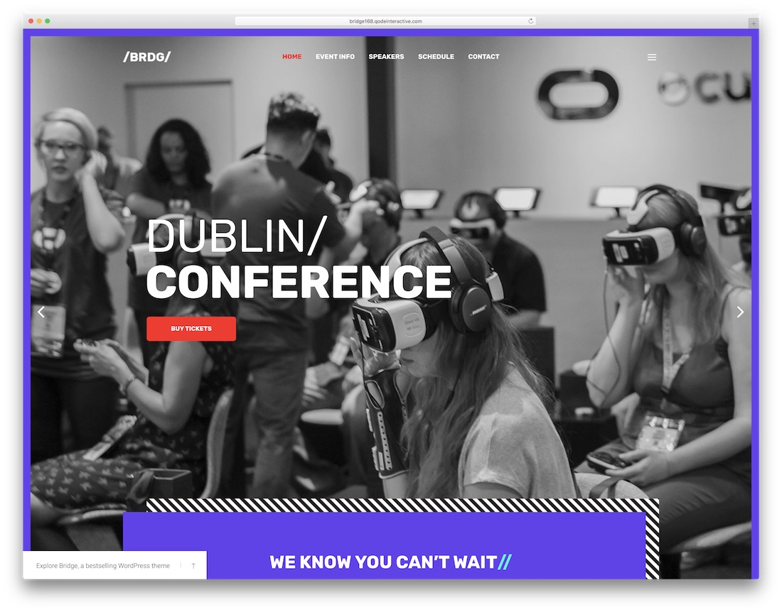 bridge wordpress theme for conference and event