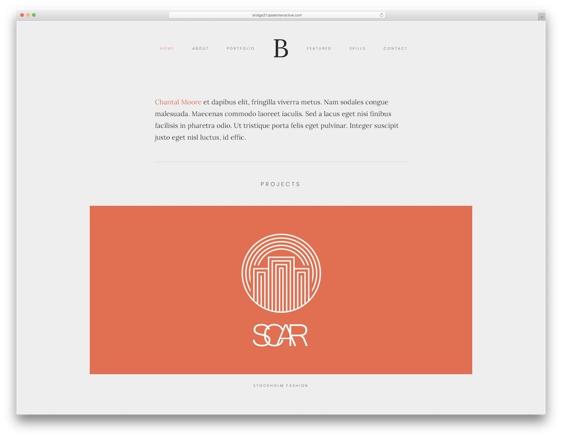 bridge wordpress theme for designers