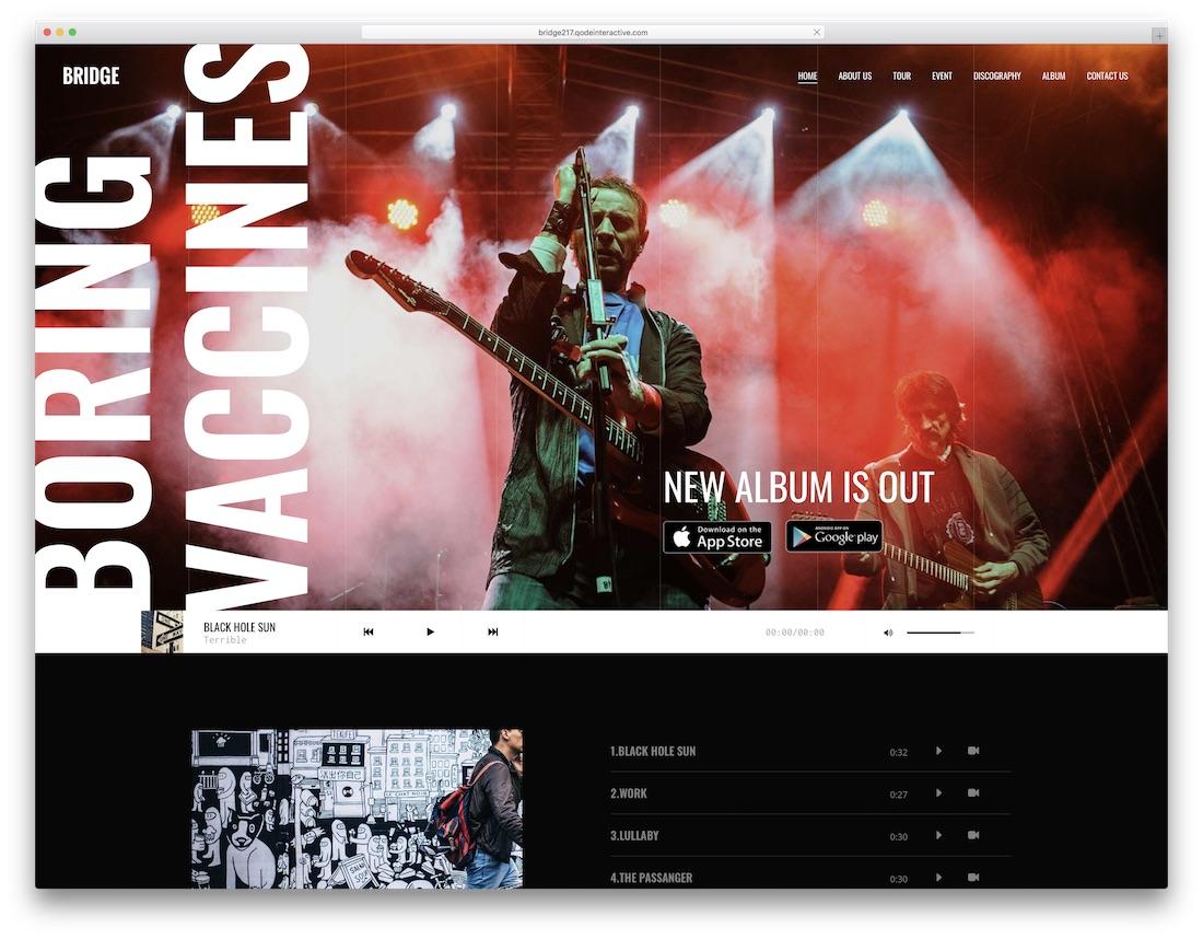 bridge wordpress theme for musicians