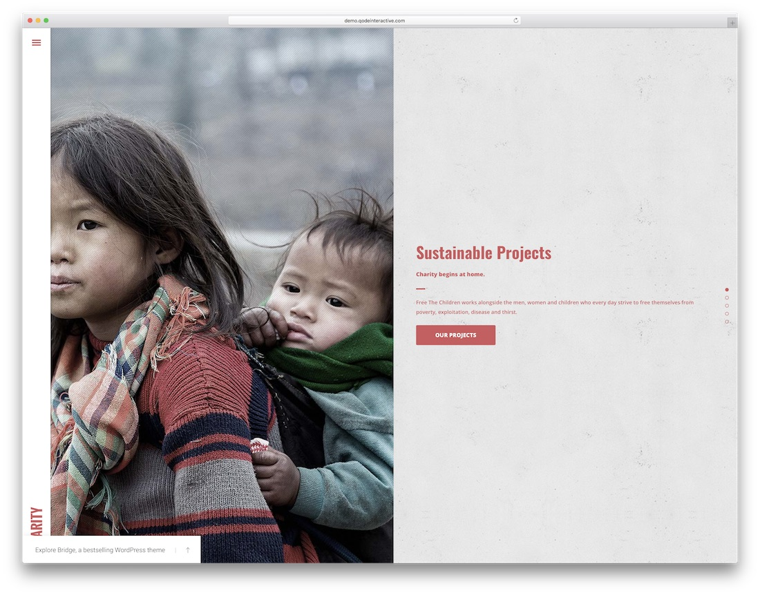 bridge wordpress theme for non profit charity organization