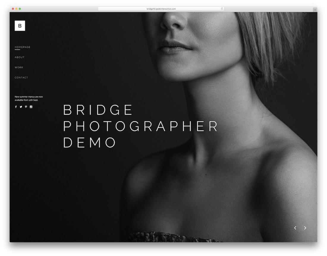 bridge wordpress theme for photographers
