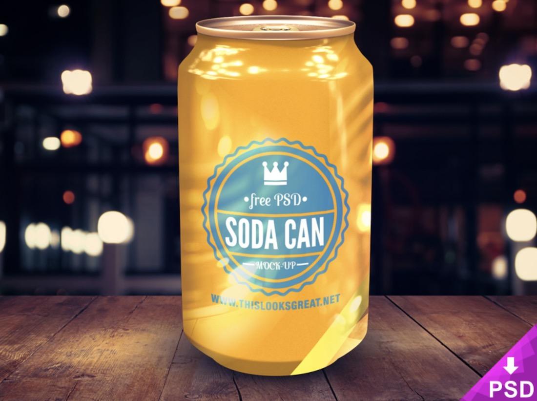 bright soda can psd mockup