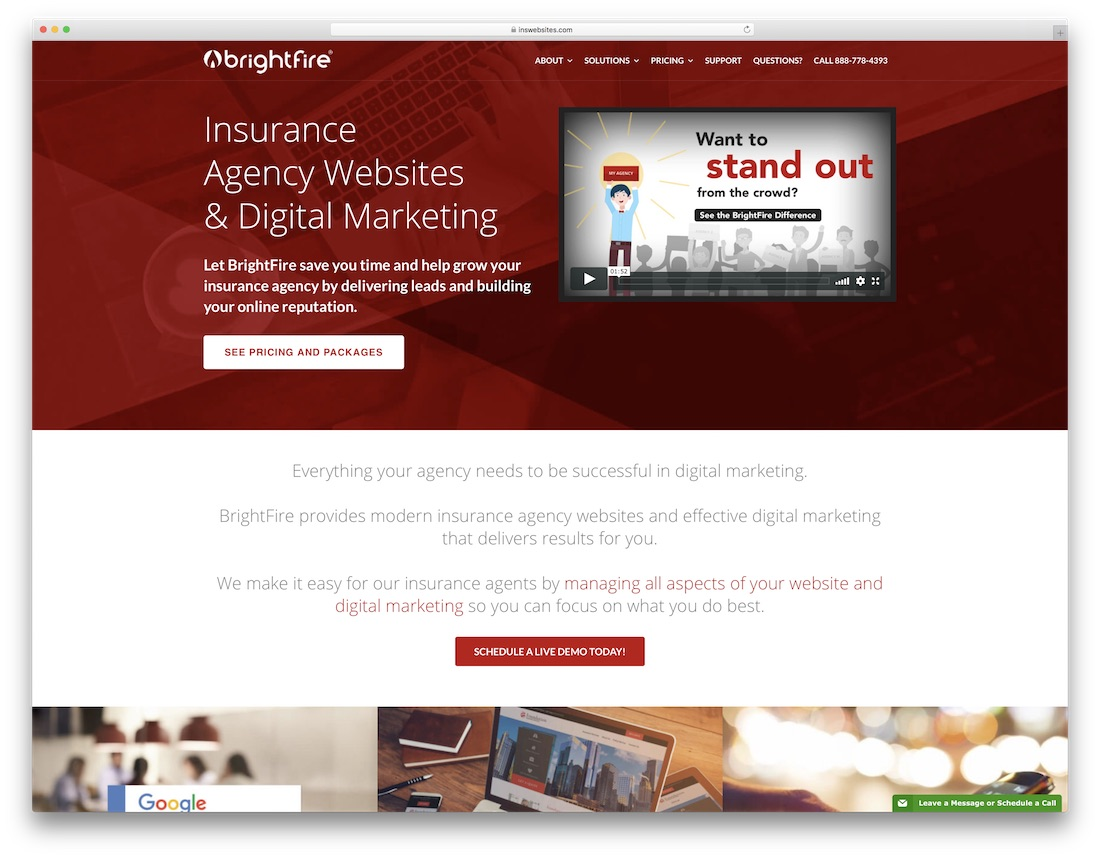 brightfire insurance website builder