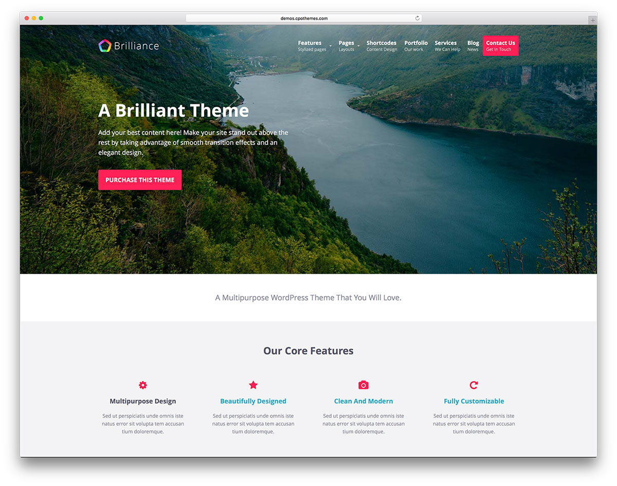 50 best free responsive wordpress themes 2017 colorlib brilliance minimal landing page website template pronofoot35fo Images