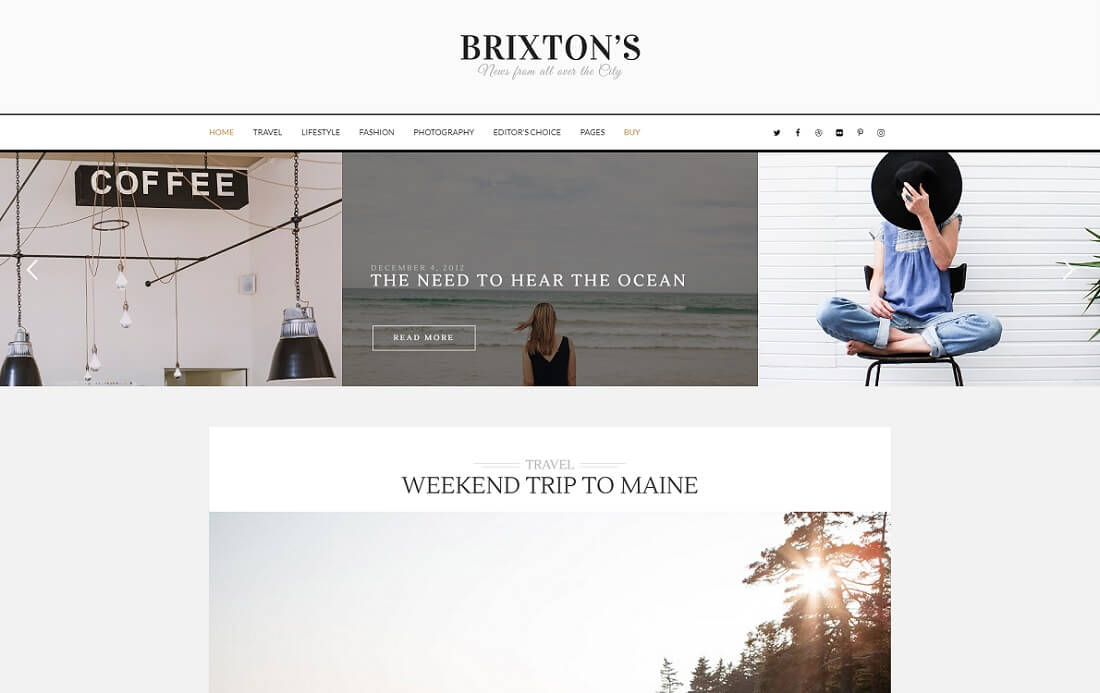 brixton wordpress instagram theme