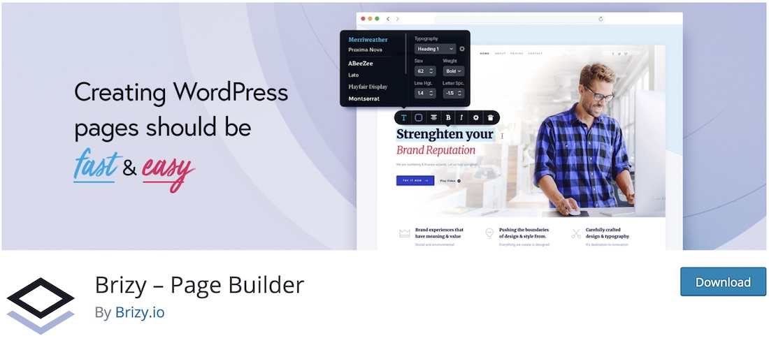 brizy page builder wordpress plugin