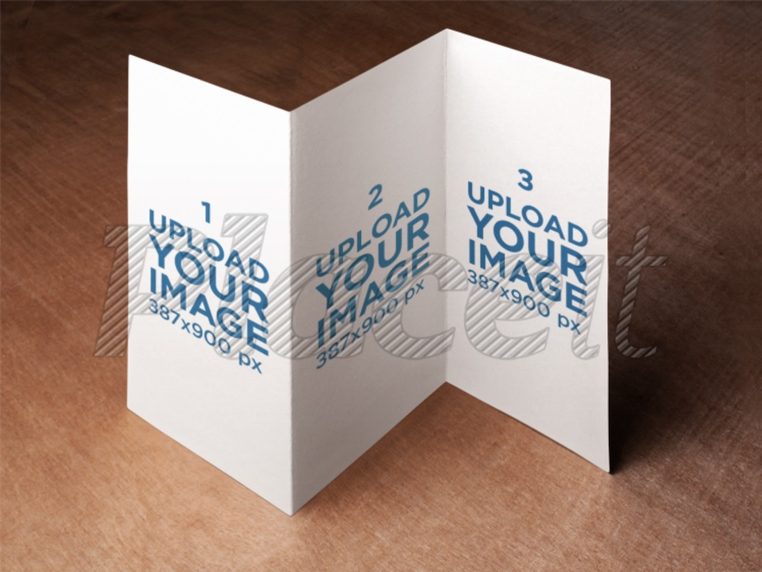 brochure mockup on top of a wooden surface