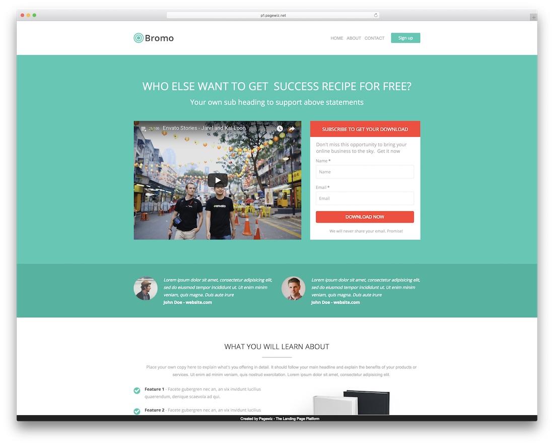 bromo pagewiz marketing template