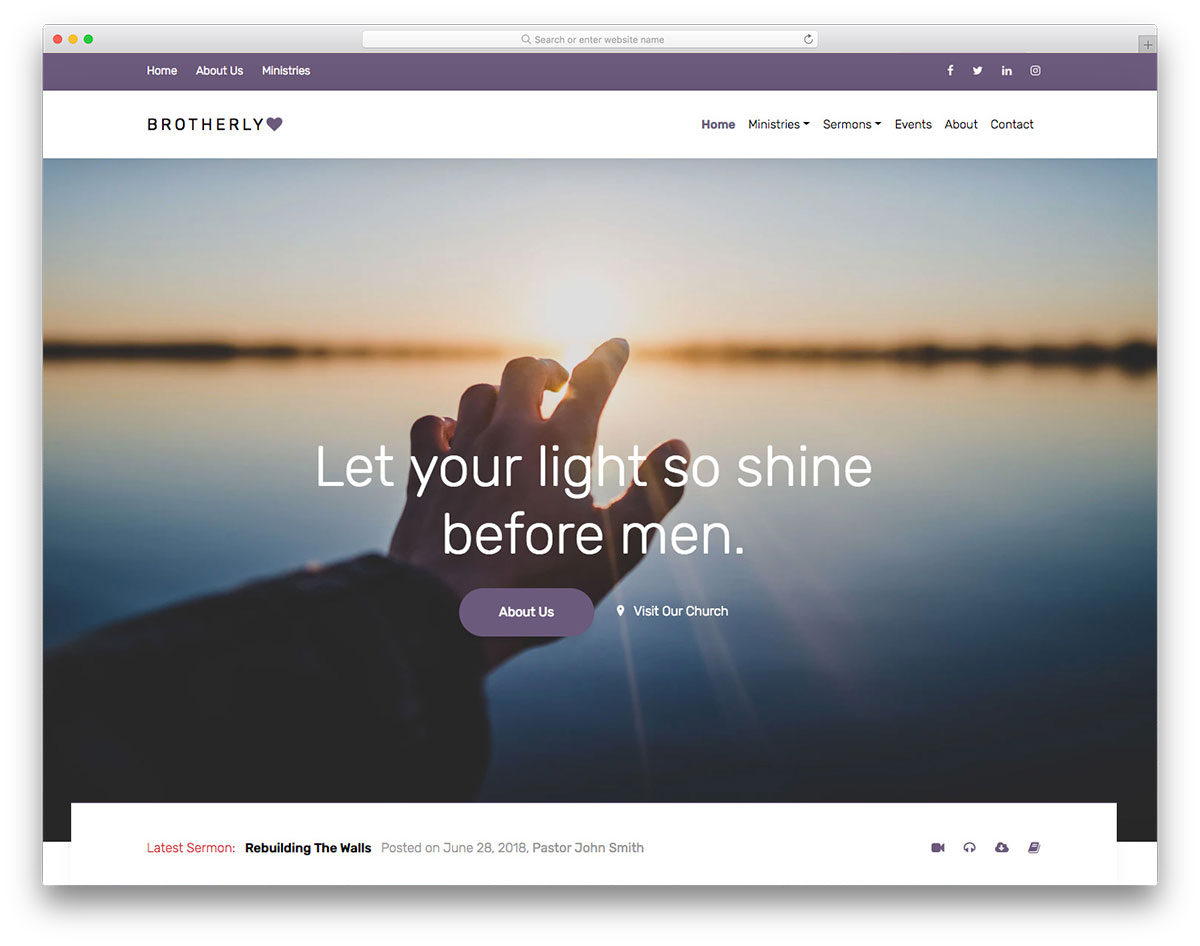 brotherlylove brotherlylove is a divine yet professional free responsive church website template - Free Church Website Templates