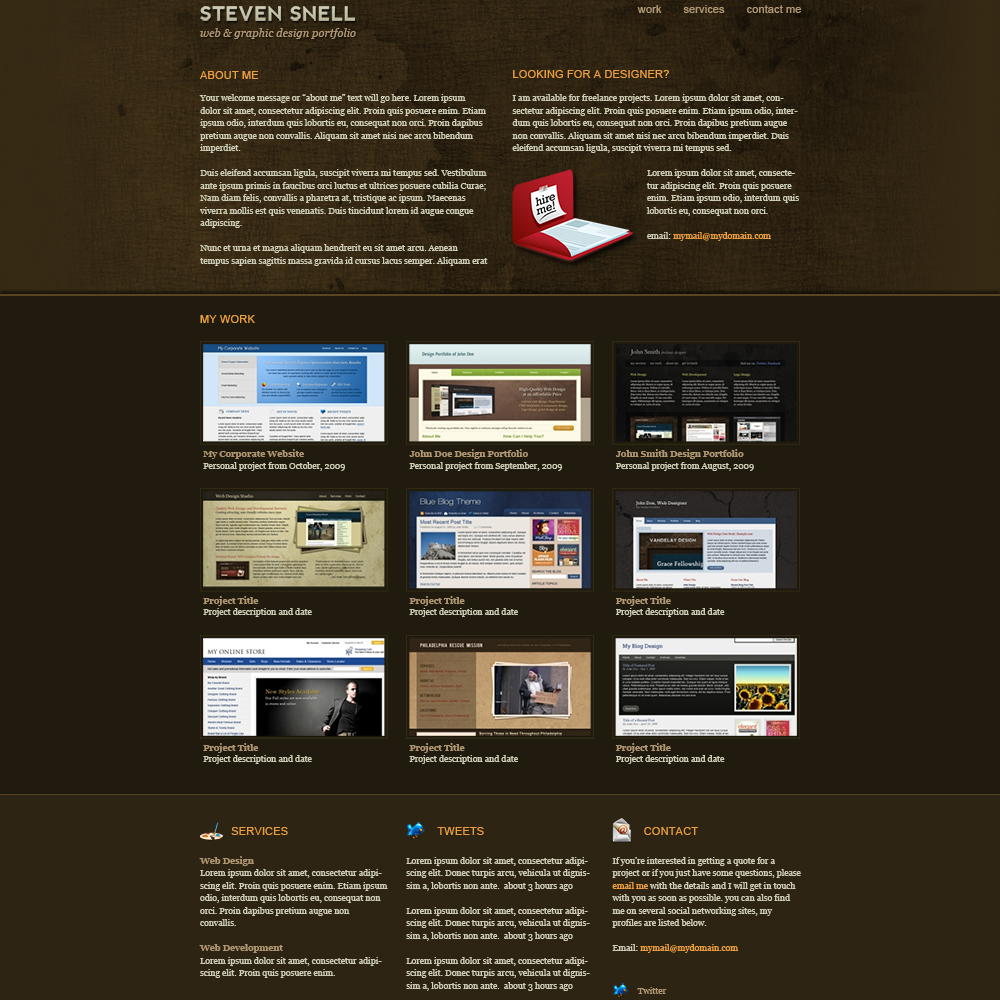 20 best free psd website templates for business portfolio for Free html portfolio templates