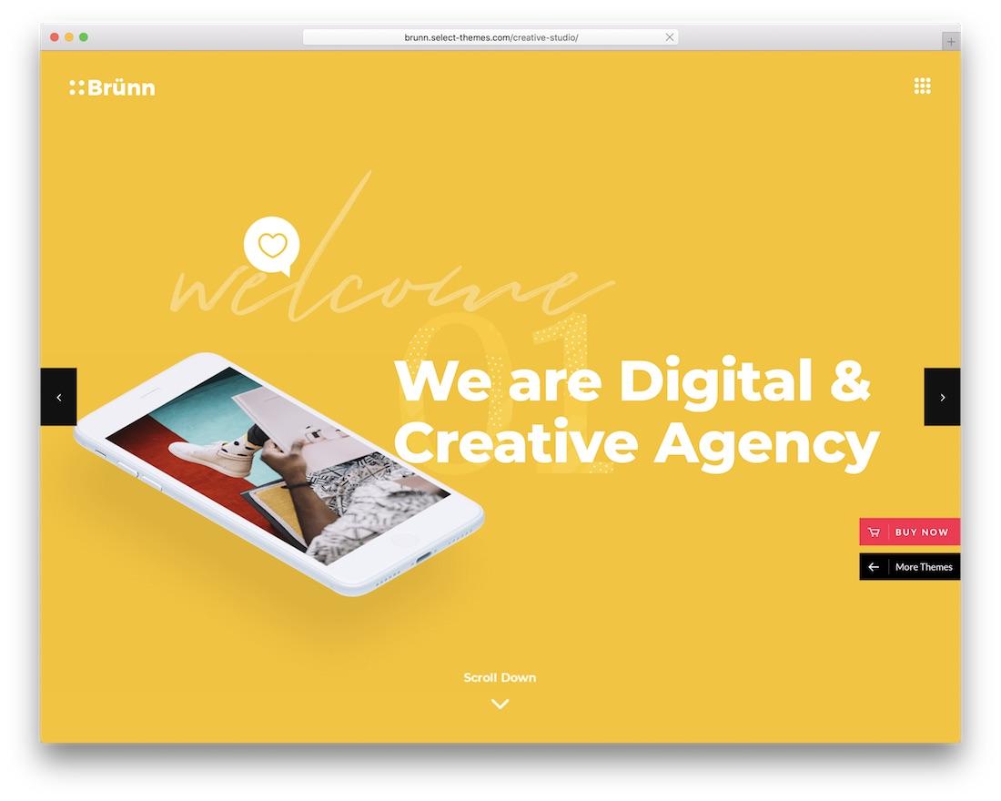 brunn creative agency wordpress theme