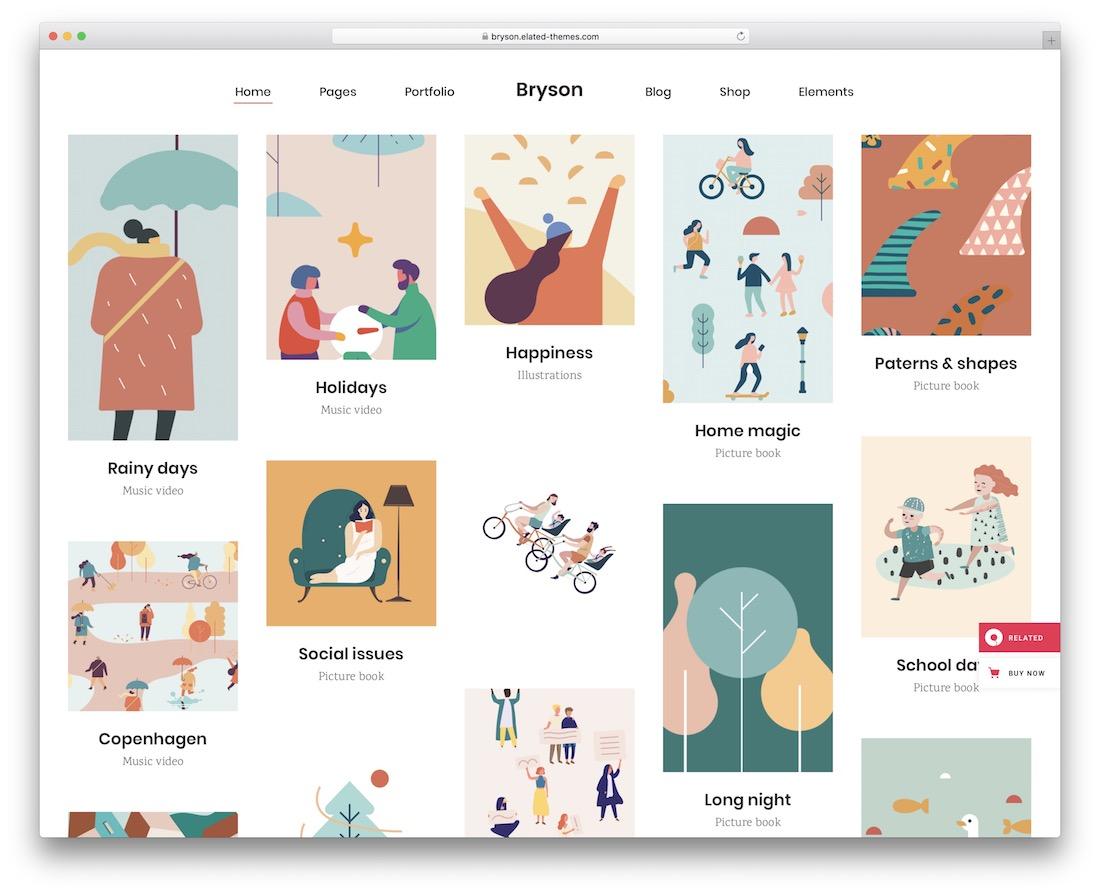 bryson pinterest style wordpress theme