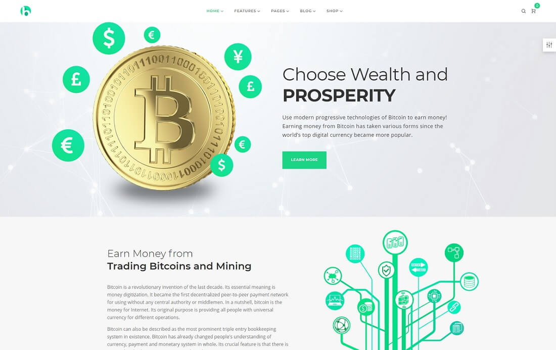 bryte cryptocurrency wordpress theme