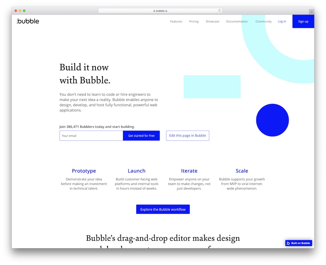bubble free drag and drop website builder