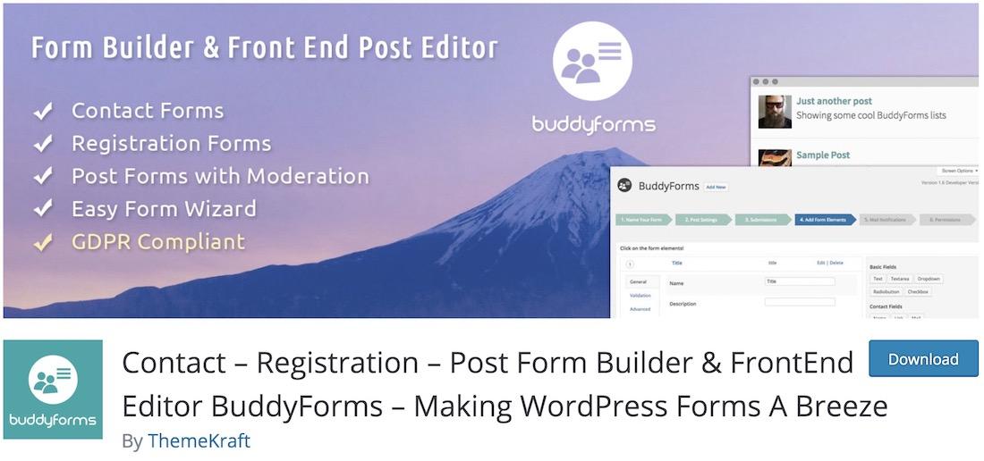 buddyforms free wordpress plugin