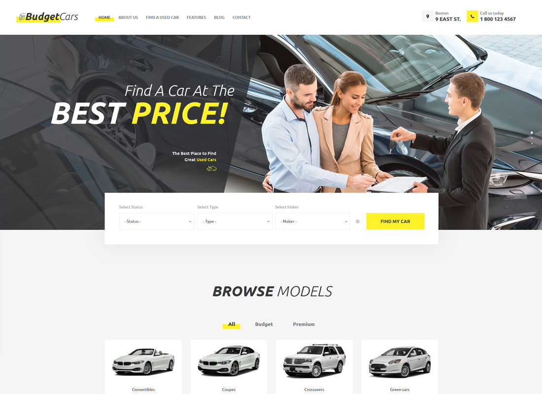 Budget Cars - Used Car Dealer & Store WordPress Theme