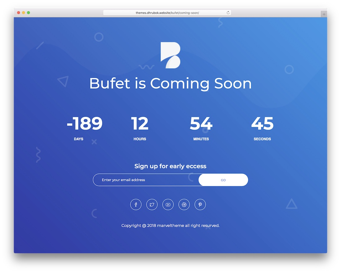 bufet coming soon wordpress theme