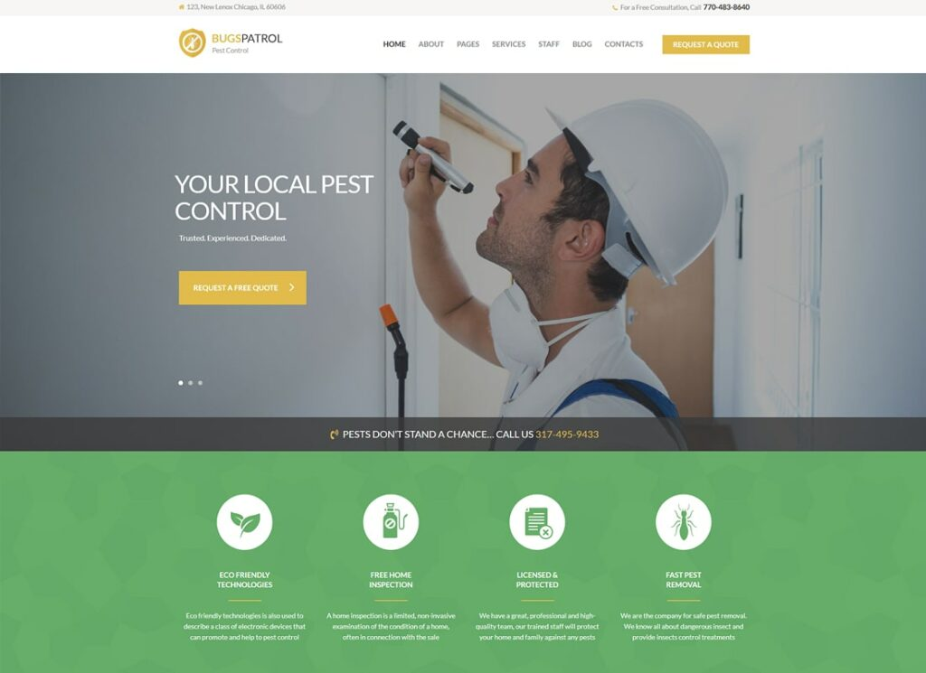 BugsPatrol | Pest & Insects Control Disinsection Services WordPress Theme