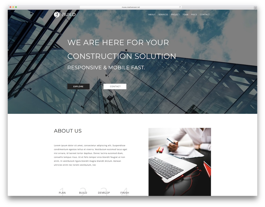 build adobe muse template