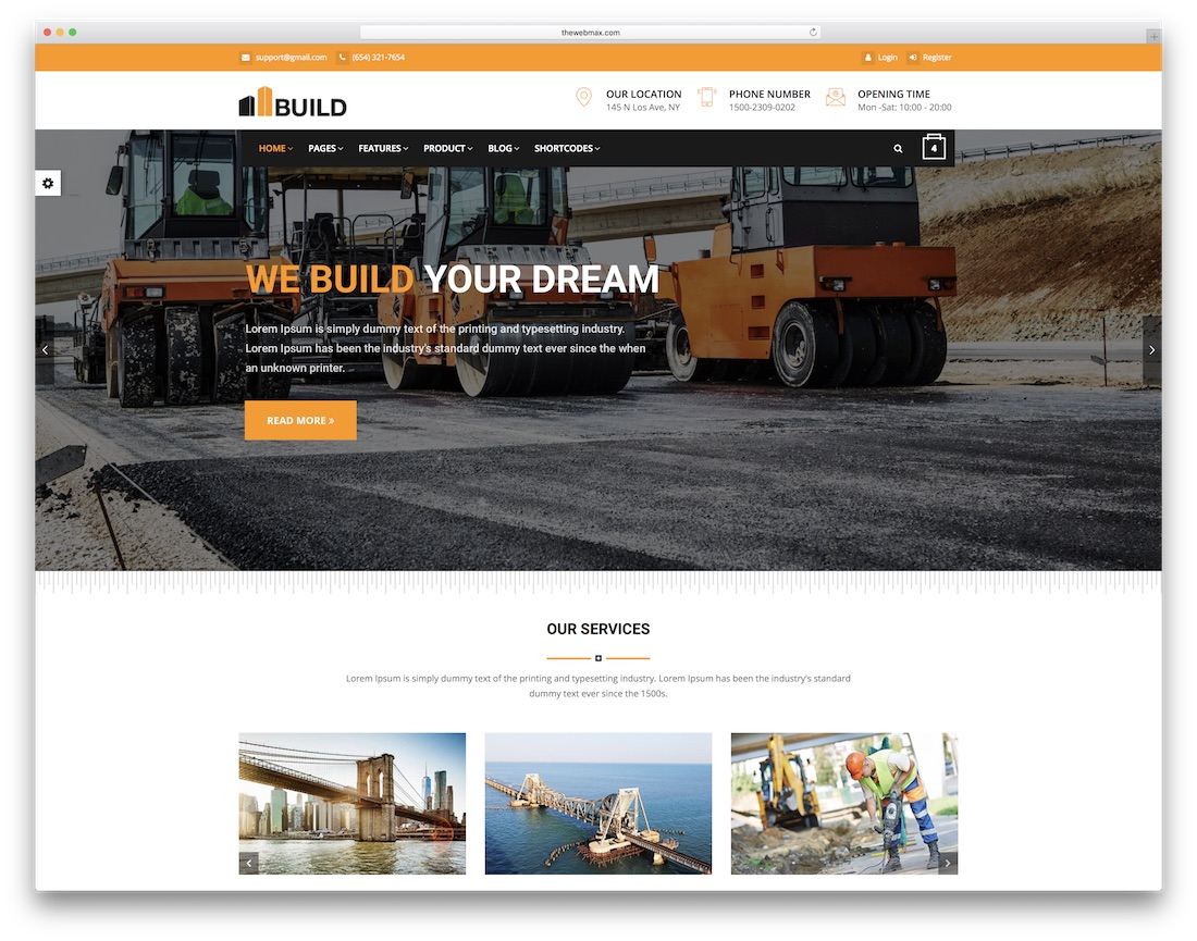 build html construction company template