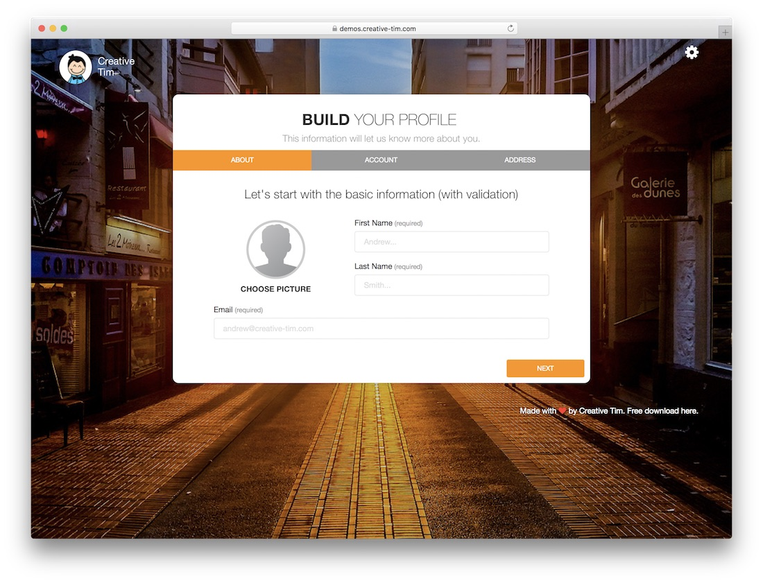 build your profile free bootstrap wizard
