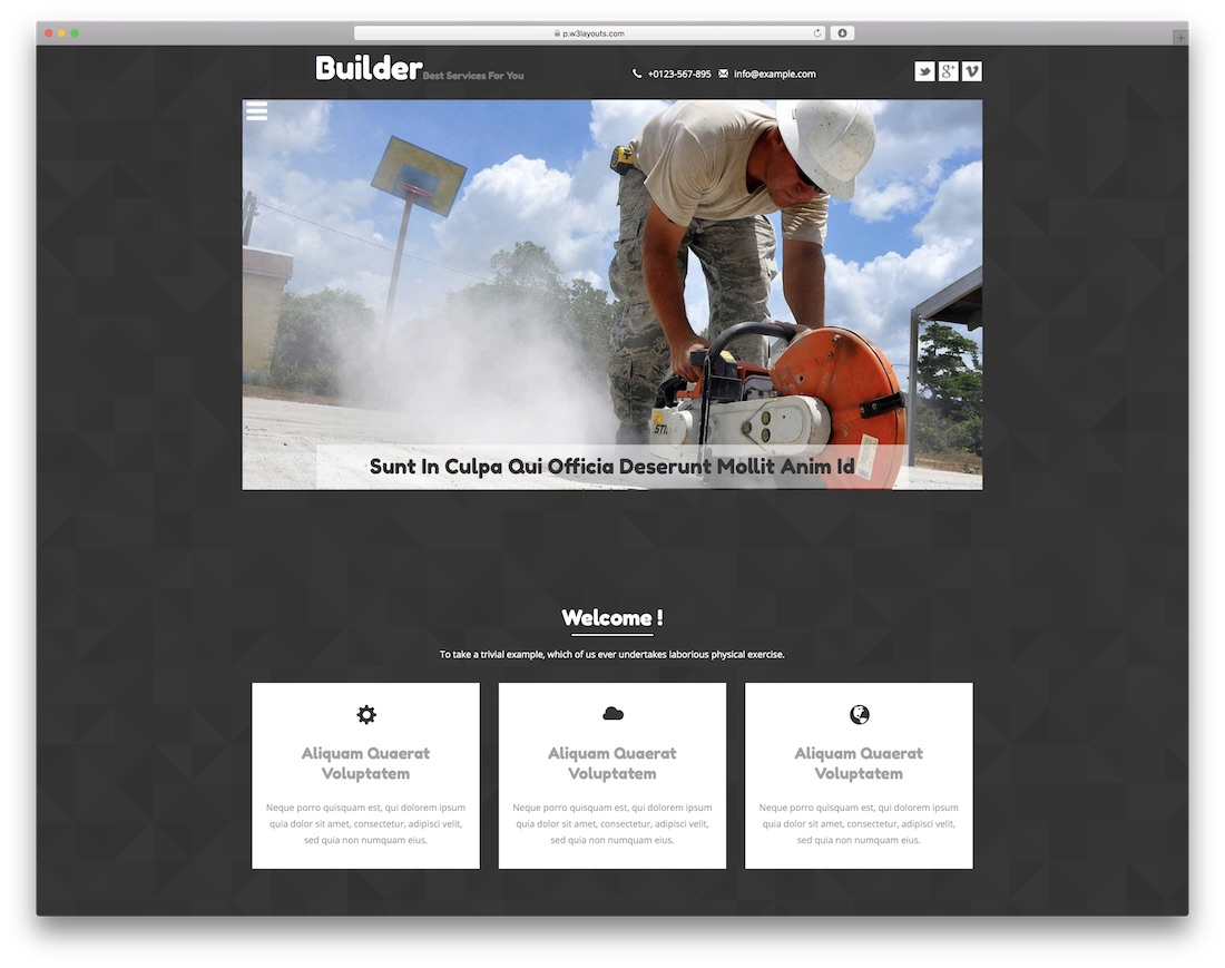 builder free construction website template