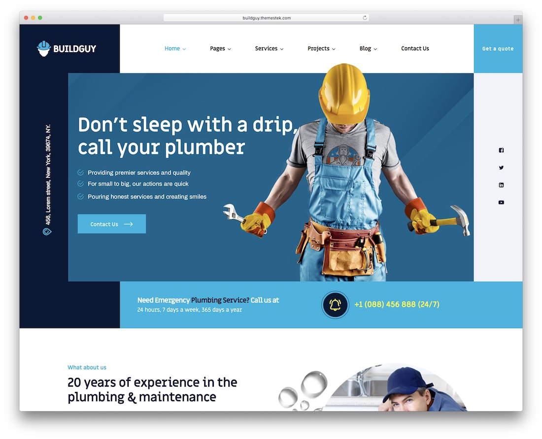 buildguy plumber wordpress theme