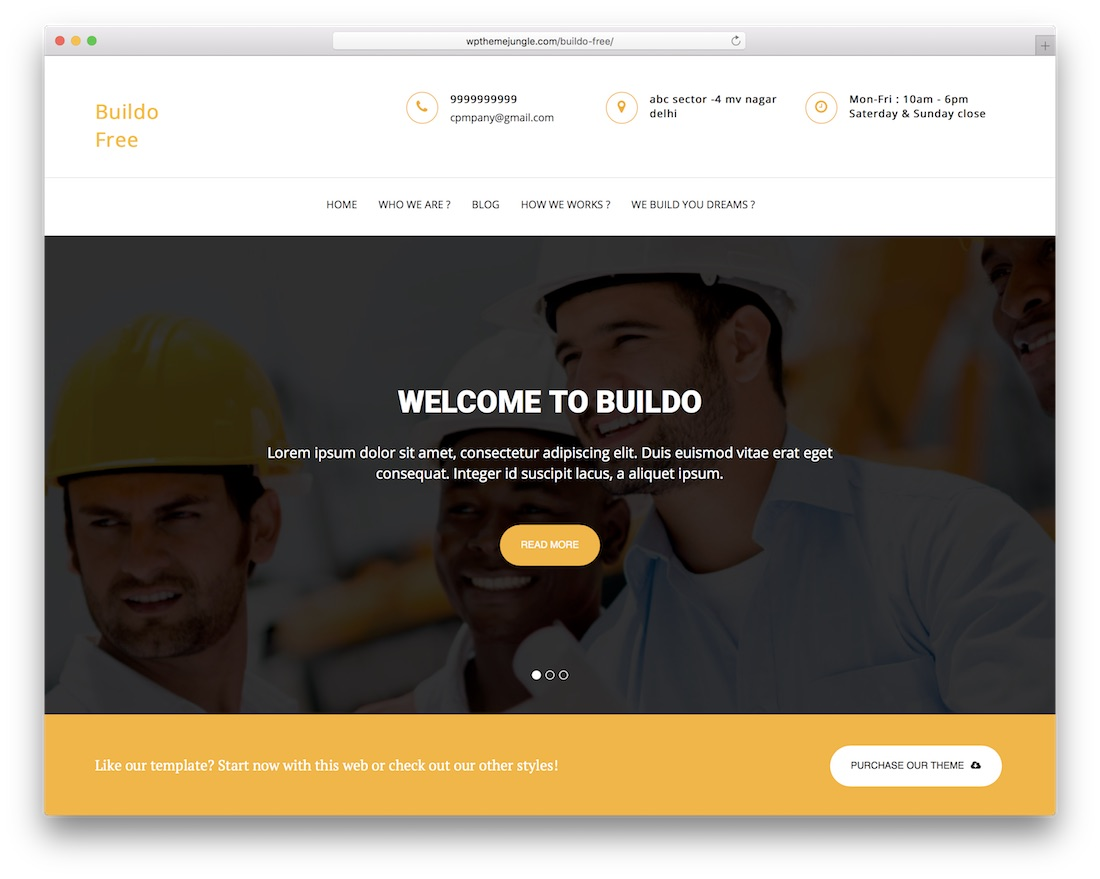 buildo free bootstrap wordpress theme