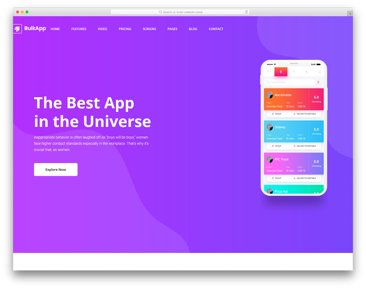 Скачать бесплатно html шаблон Bulkapp