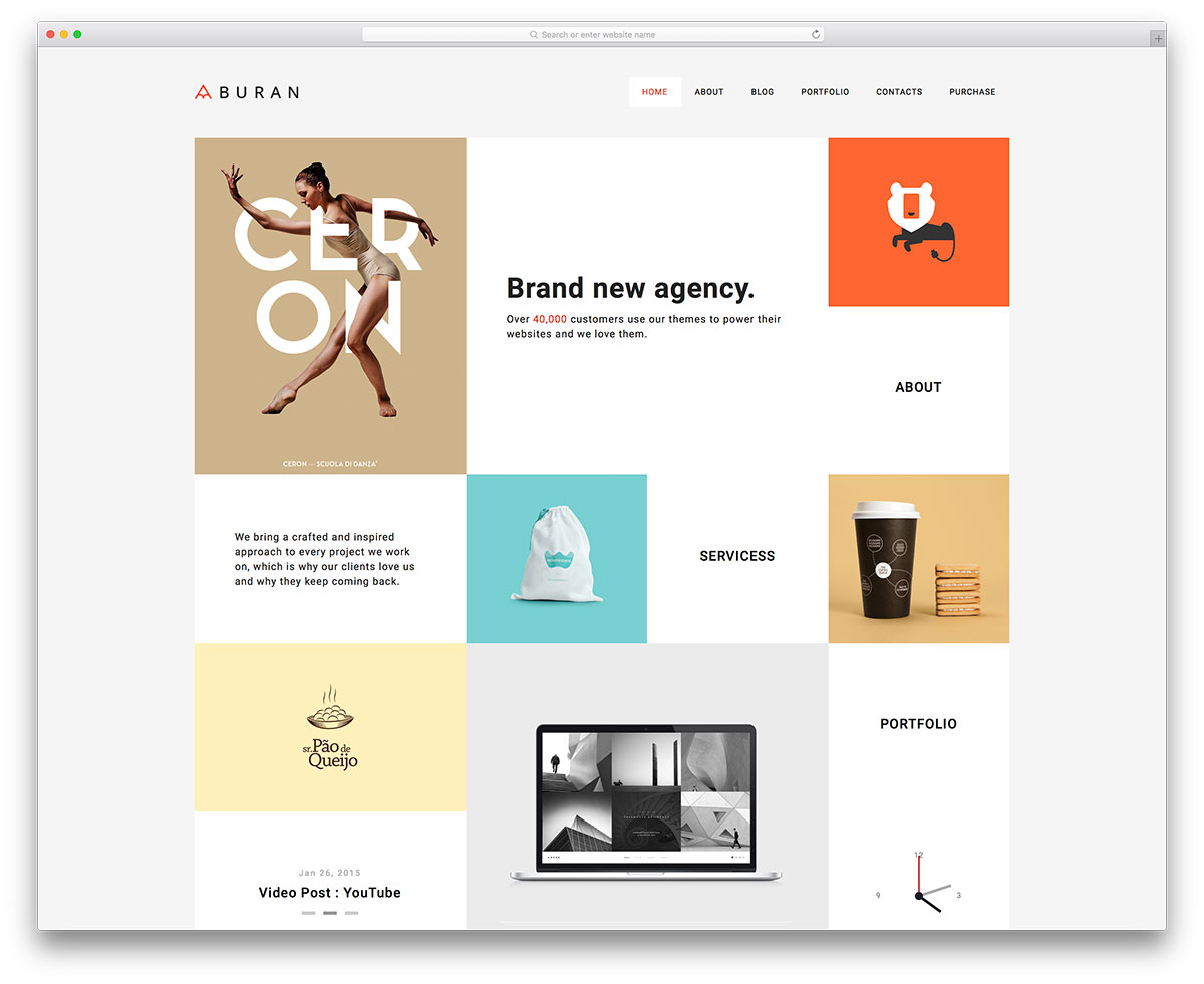 best one page wordpress themes colorlib buran minimal creative portfolio template