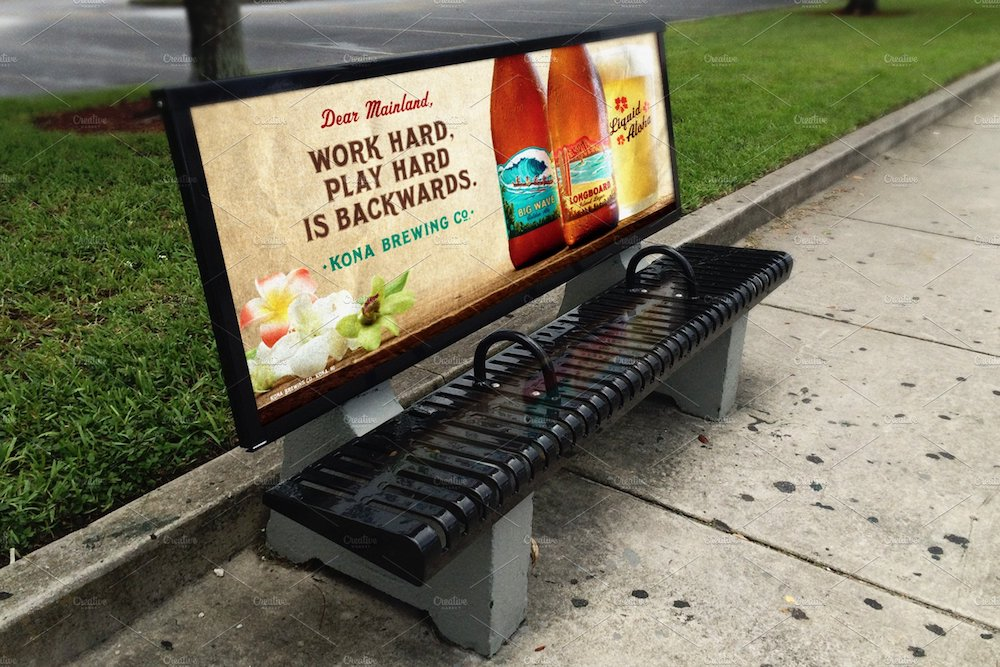 bus stop bench advertisement mockup