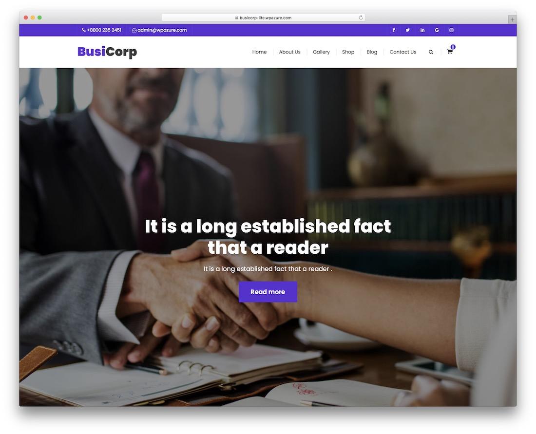 busicorp free wordpress startup theme