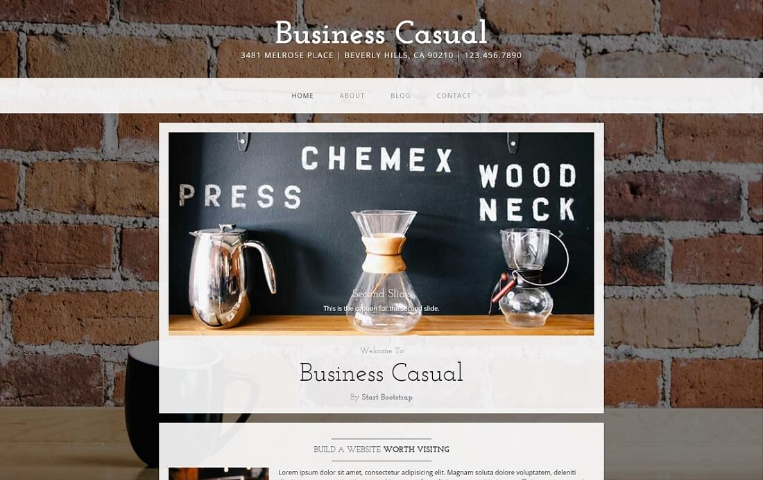 business casual free bootstrap 4 website template