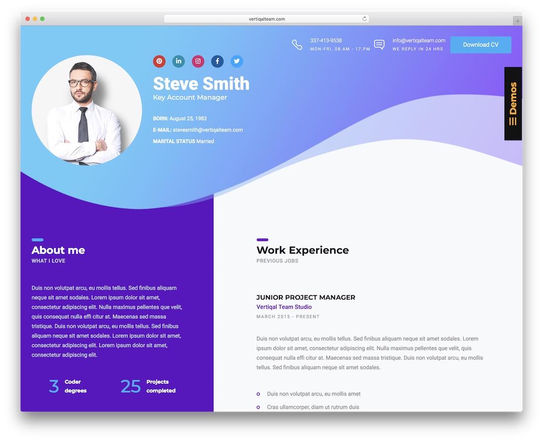 business cv cheap website template